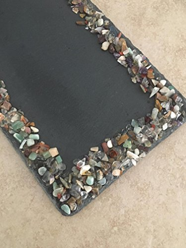 Crimson Finch Mixed Gemstone Adorned Rectangle Slate Tray by Crimson Finch