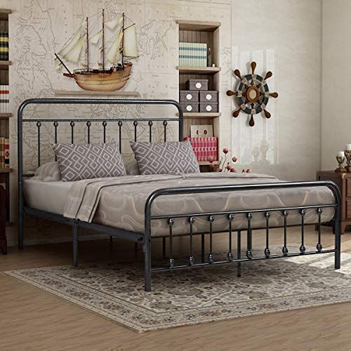 Elegant Home Products Victorian Vintage Style Platform Metal Bed Frame Foundation Headboard Footboard Heavy Duty Steel Slabs Queen Full Twin Silver/Gray Finish (Queen) Bedroom Vintage Sleigh Bed