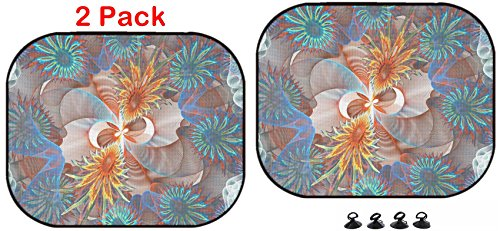 Luxlady Car Sun Shade Protector Block Damaging UV Rays Sunlight Heat for All Vehicles, 2 Pack Fractal Background with Abstract Bubbles Shape High Detailed Image ID (Rear Detailed Notes)