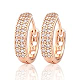 GULICX Party Jewellery Cubic Zirconia Round Hoop Elegant Huggie Earrings Clear Gold Plated Brass
