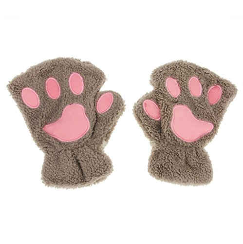 Girls Women Ladies Fingerless Soft Cozy Mittens Gloves, Animal Paws Design (Light Brown)