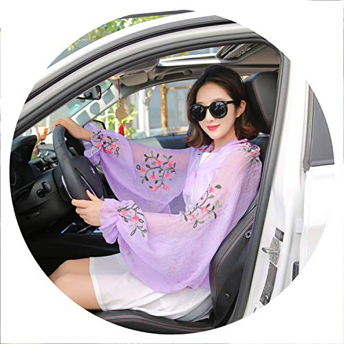 Youthern Summer Chiffon Flower Scarves for Women Elegant Ruffles Long Sleeve Poncho Stole Female Shawls Women's Cachecol Foulard,Light Purple,One Fit All
