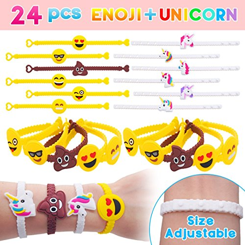 Pawliss Emoji Bracelets Wristband, Unicorn Birthday Party Favors Supplies for Kids Girls, Emoticon Toys Prizes Gifts, Rubber Band Bracelet 24 Pack -