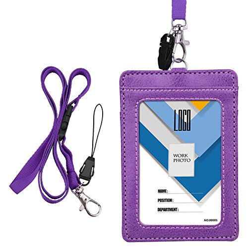 Badge Holder, Wisdompro 2-Sided PU Leather ID Badge Card Holder Wallet Case with 1 Clear ID Window & 1 Credit Card Slot and 22 Inch Quick Rlease Detachable Neck Lanyard/Strap - Purple (Vertical)
