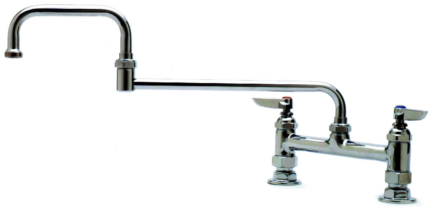 T&S Brass B-0245 Deck Mount Double Pantry Faucet with 8-Inch Centers and 18-Inch Double-Joint Swing Nozzle by T&S Brass B001308C10