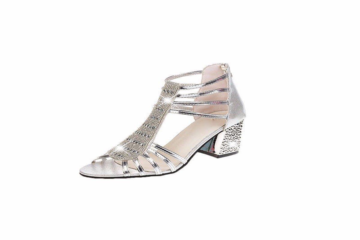 KPHY Damenschuhe Diamond Schuhe Sandalen Sommer Fische Münder Aufgewölbte Rau und High Heels.