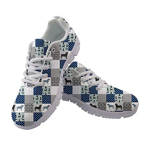 FOR U DESIGNS Puppy Print on Women's Running Shoes Square Lattice Casual Lightweight Athletic Sneakers Size 40