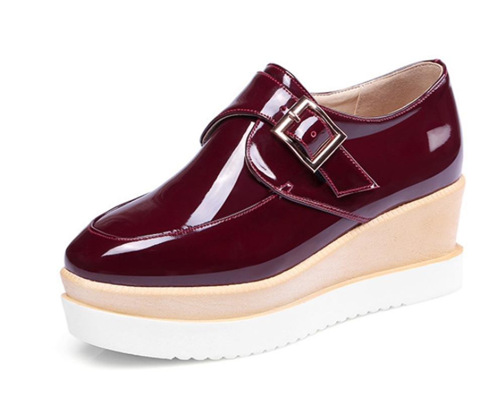 Mme épais chaussures printemps boucle pente chaussures 19992 casual profonde de la bouche avec des chaussures à fond épais chaussures casual chaussures à muffins Red 5f8a1f5 - jessicalock.space