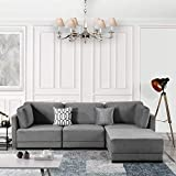 modular sectional sofas Modular Sectional Sofa Couch Convertible Sofa Sectional w/Reversible Chaise Ottoman, 3 Piece (Custom Couch Feature) Modern L-Shaped Sectional Sofa from 2Pc Loveseat to Chaise Ottoman Sofa, Gray