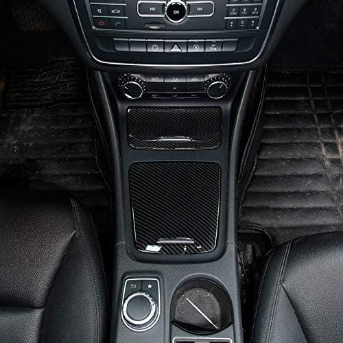 Vaorwne Carbon Abs Center Storage Box Panel Trim Ashtray Cover Car Stickers for Mercedes Cla Gla a Class W117 W176 A180 2014-2017