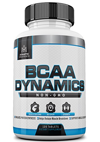 Athletic Mechanics - BCAA Dynamics - Non-GMO Branched Chain Amino Acids - 3000mg - Optimal Ratio of 2:1:1 - Build Muscle, Enhance Recovery, Gain Strength, Stimulates Protein Synthesis, Reduces Muscle Breakdown, Supports Muscle Recovery - 120 Tablets