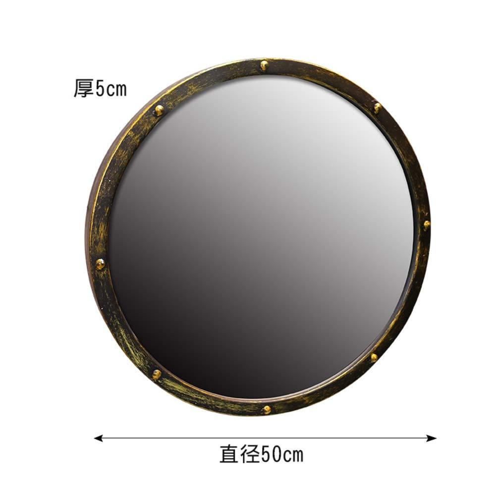 KELE Vintage Wrought Iron Wash Basin Bathroom Mirror Old Atique Round Makeup Mirror Chinese Art Round Mirror Shave Mirror Shower Mirror Wall-Mounted Mirror-A 50cm
