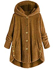 Gaabb Womens Oversized Hooded Coats Warm Wool Plush Cardigan Hoodies Button Sweaters