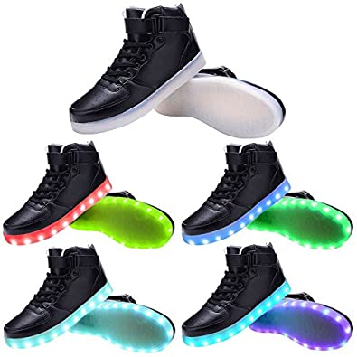 TUTUYU Kids&Adult 11 Colors LED Light Up Shoes High Top Flashing Sneakers for Christmas chic
