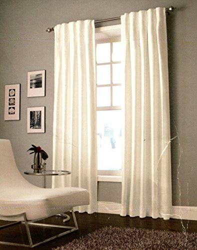Designers' Select Maximus Inverted Pleat Window Curtain Panels in White 30 Inches in Wide x 95 Inches Long - Inverted Pleat Curtains