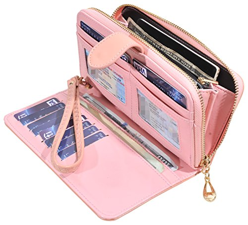 (RFID Blocking Womens Ladies Wallet Leather Long Zip Clutch Purse Card Holder (Light Pink))