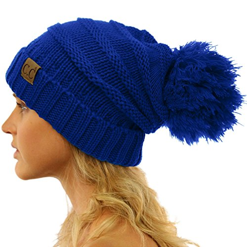 CC Confetti Super Big Slouchy Pom Pom Warm Chunky Stretchy Knit Beanie Hat Solid Royal (Super Stretch Knit Hat)
