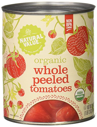 Price comparison product image Natural Value Organic Whole Peeled Tomatoes in Tomato Juice,  28 Ounce Cans (Pack of 12)