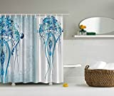 Sea Creatures Artistic Nautical Coastal Decor by Ambesonne, Fabric Shower Curtain Ocean Jellyfish with Paisley Pattern Theme Beach Fishy Prints Design in Bath Interior for Home, Marine Blue White