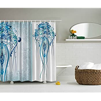 Sea Creatures Artistic Nautical Coastal Decor By Ambesonne, Fabric Shower  Curtain Ocean Jellyfish With Paisley
