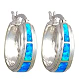 Top Sell Brand Design Blue Fire Opal Silver Stamped Party Hoop Earrings Fashion - Best Reviews Guide