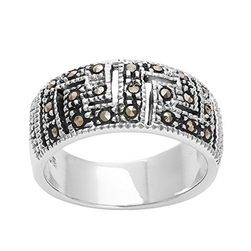 Silverly Women's .925 Sterling Silver Simulated Marcasite Oxidised Greek Key Cut Out Band Ring