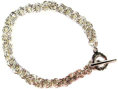 Byzantine Bracelet Weave - Bracelet .925 Sterling Silver 18g Two In Two Byzantine Combo Chain Mail Weave Toggle Clasp