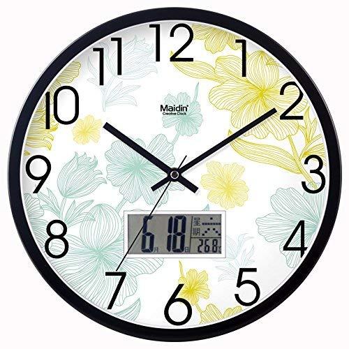 Jundonglilai 壁掛け時計サイレントムーブメント壁掛け時計ホームオフィスの装飾用リビングルームベッドルームとキッチンクロックウォールミュートクロックウォールテーブルクォーツ時計メタル (Color : Metal Calendar - Black -717, サイズ : 12 In.) 12 In. Metal Calendar - Black -717 B07S5DGQW9