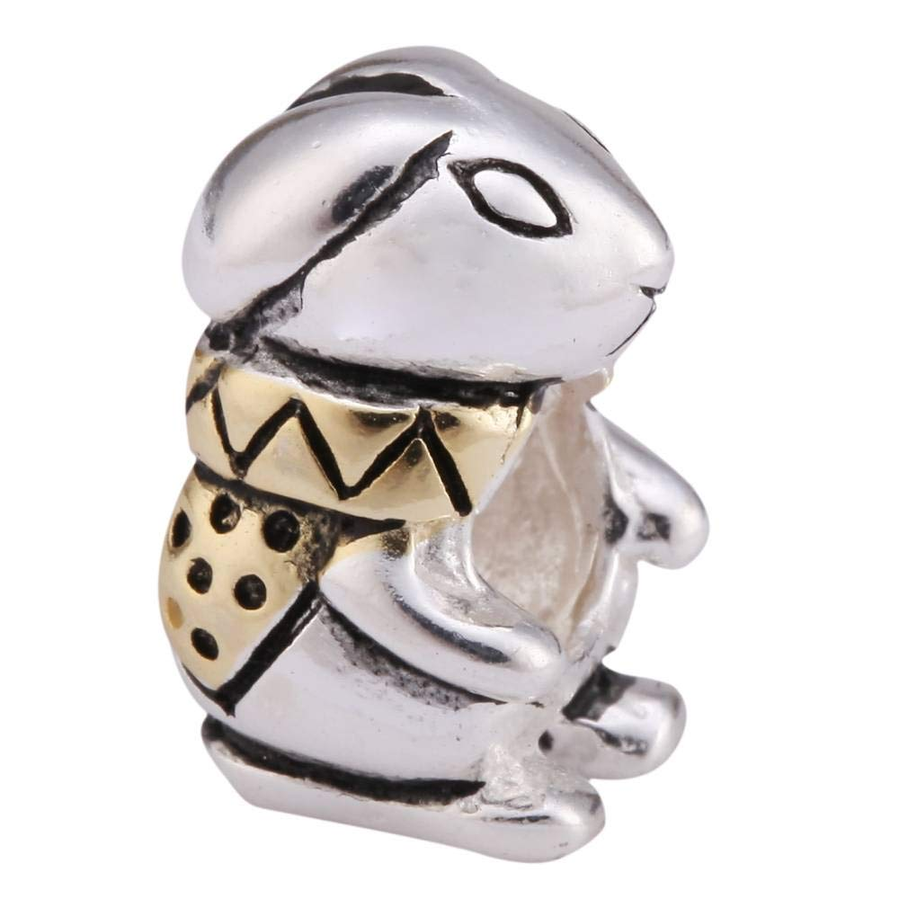 Bunny King in Gold Jacket Bunny Charm Sterling Silver Animal Charm Bead for Charm Bracelets #EC486