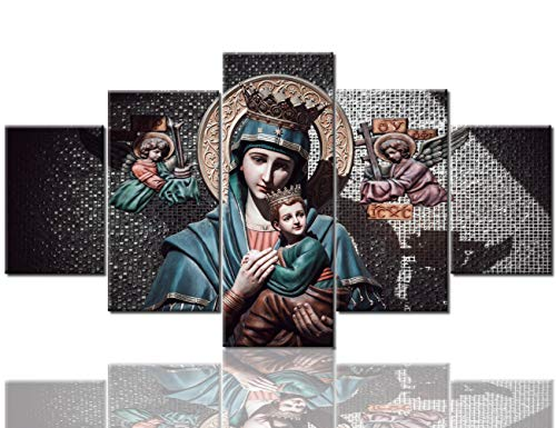 - TUMOVO Religious Wall Art for Living Room Virgin Mary with Child Jesus Pictures Paintings 5 Panel Canvas Contemporary Artwork Home Decorations Giclee Framed Gallery-Wrapped Ready to Hang(60''Wx32''H)