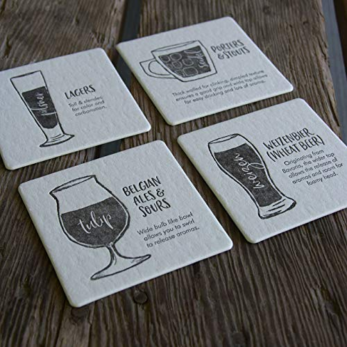Pilsner Lager (Beer Glassware Coasters, set of 4 perfect gift for beer lover and brewer)
