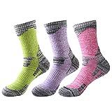 TULUO Women's 3 Pack Multi Performance Sport Outdoor Hiking Trekking Cushion Crew Socks