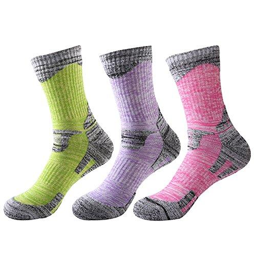 TULUO-Womens-3-Pack-Multi-Performance-Sport-Outdoor-Hiking-Trekking-Cushion-Crew-Socks