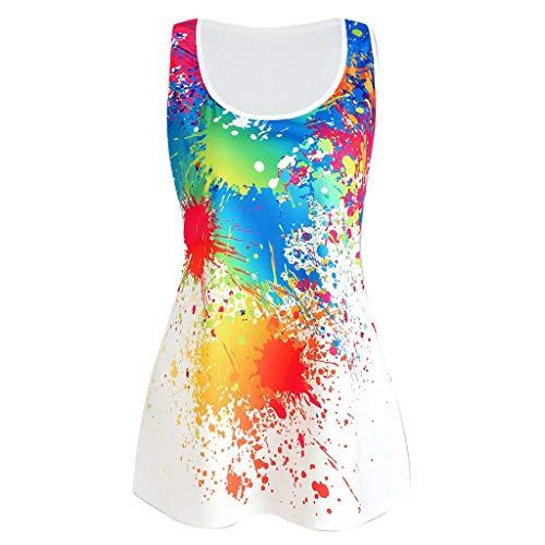 Vest Summer Collo Splatter sportiva Canotta senza Suliflor Stampa Womens Bianco Shirt O Vest Canotta T Donna Paint crop maniche maniche in Dye Tie qvFnTYaF