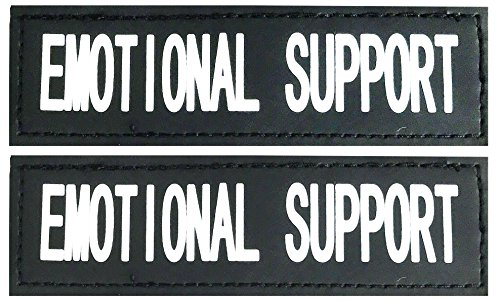 Albcorp Reflective Emotional Support Patches with Hook Backing for Service Animal Vests /Harnesses XXS or Extra Small (3.5 X 1) Inch