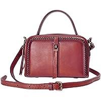 ZLYC Womens Small Genuine Leather Top Handle Handbags Vintage Rivet Studded Double Zipper Crossbody Shoulder Bags Purses