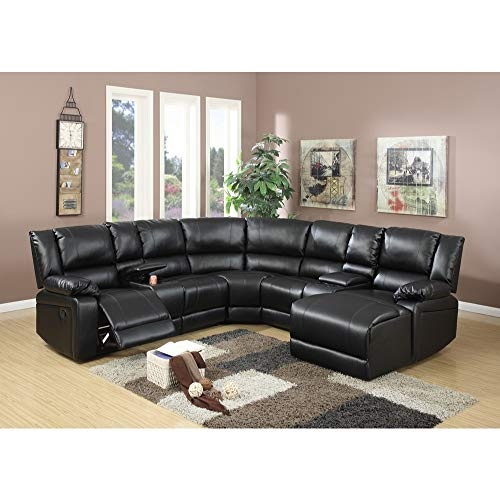 ded Leather 5 Pieces Reclining Sectional, Black ()