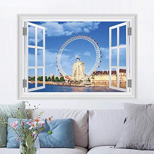 sansiwu Q 3D England London Eye Simulation Window Bedroom Wall Decoration Wall Sticker Mural -
