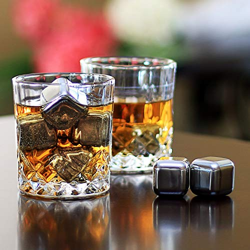Whiskey Stones Gift Set - Set Of 8 Stainless Steel Beverage Chilling Rocks Scotch Bourbon Glasses Ice Cubes Includes 2 Whiskey Glasses, Velvet Bag, Tongs With Elegant Wooden Gift Box - For Whiskey