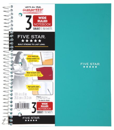 "Five Star Spiral Notebook, 3 Subject, Wide Ruled Paper, 150 Sheets, 10-1/2"" x 8"", Color Will Vary (05244)"