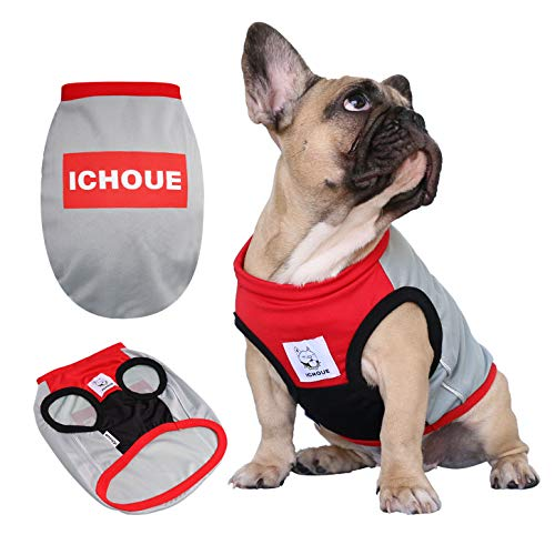 (iChoue Pet Dog Clothes Sports Vest Tank Top for English Bulldog T Shirts Dogs Sweatshirt - XL Red Grey)