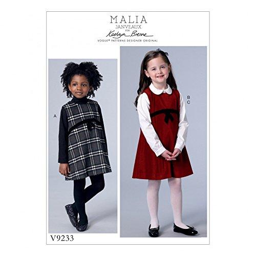 Vogue Girls Easy Sewing Pattern 9233 Pinafore Dresses & Peter Pan Collar Blouse