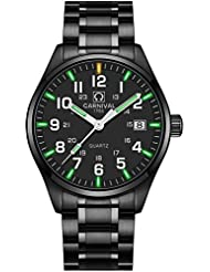 PASOY by Carnival Mens Luminous Tritium Watch Waterproof Sapphire Glass Black Stainless Steel Quartz Military...