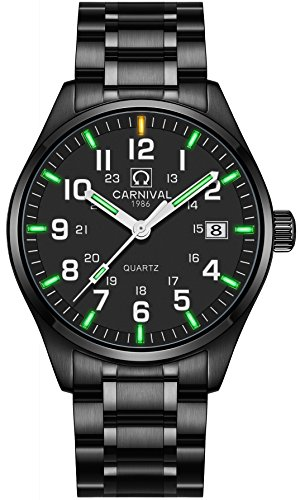 PASOY by Carnival Men's Luminous Tritium Watch Waterproof Sapphire Glass Black Stainless Steel Quartz Military Watches