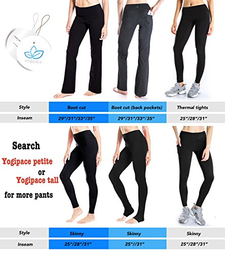 "Yogipace Tall Women's 35"" Bootcut Yoga Pants With Pockets"