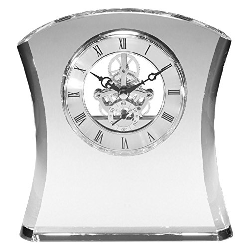 Awards and Gifts R Us Customizable 6 Inch Skeleton Hour Glass Optical Crystal Quartz Desk Clock, Includes Personalization
