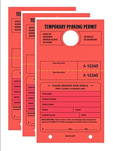 TEMPORARY PARKING PERMIT - Mirror Hang Tags, Numbered with Tear-Off Stub, 7-3/4'' x 4-1/4'', Bright Fluorescent Red, 50 Per Pack - Triple-Pack (150 Tags)