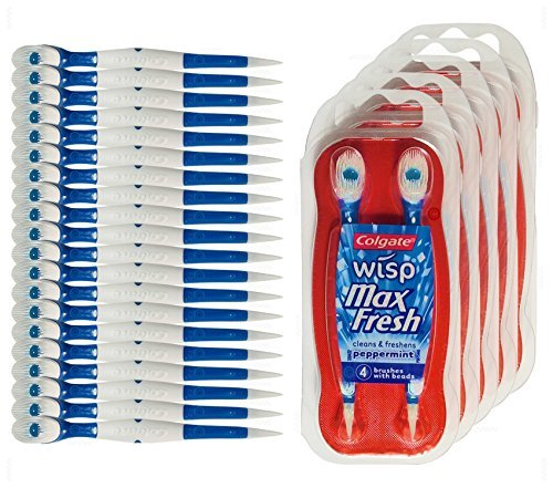 Colgate Wisp - Wisp Toothbrush - Camping Toothbrush - Mini Toothbrush - No Water Needed - Guaranteed Freshness. Great for Camping, Traveling. Each Pack Is Small, Compact and Contains 4 Disposable Toothbrushes. Clean Teeth and Fresh Breath - 5 Packs (Toothbrush For Work)