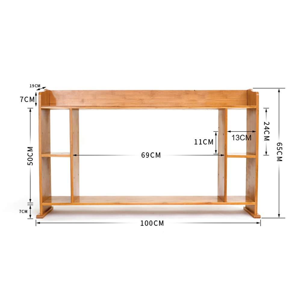 HUO Desktop Shelf Storage Rack Finishing Rack Bamboo Table Office Bookshelf-100  65cm Bookcases