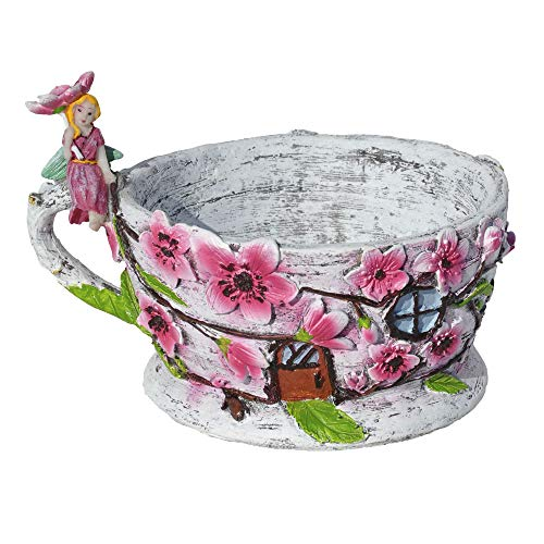 Georgetown Home and Garden Miniature Fairy Garden Cherry Blossom Teacup Planter